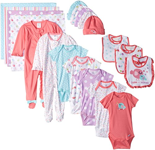 Gerber Baby Girls' 19 Piece Baby Essentials Gift Set, Birdie, Newborn