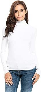 SUPOOH Women's Elegant Long Sleeve Chiffon Solid Slim Fit Turtleneck Tee Shirt Top Blouse