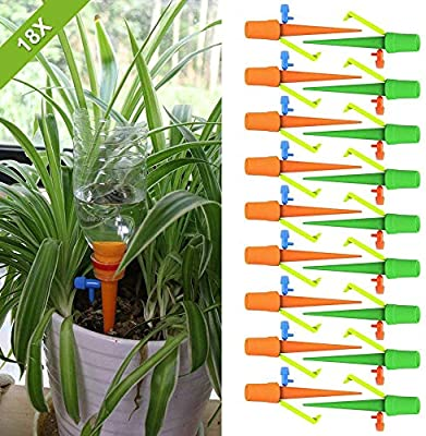 MelkTemn Self Watering Spikes, 18 Pack Plant Watering Devices with Slow Release Control Valve Switch Plastic Bottle Automatic Drip Irrigation Watering System for Outdoor Indoor Plants from MelkTemn