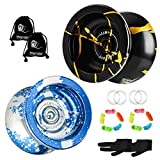 YOSTAR MAGICYOYO N11 Professional Unresponsive Yoyo, Pro Metal Yo-yo with Weighting Rings, Weight Adjustable, Yo Yo Gift Toy, with 10 Strings, 2 Gloves and 2 Yo-yo Bags (Black Gold + Blue Silver)