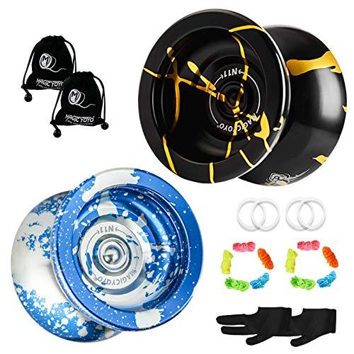 YOSTAR MAGICYOYO N11 Professional Unresponsive Yoyo, Pro Metal Yo-yo with Weighting Rings, Weight Adjustable, Yo Yo Gift Toy, with 10 Strings, 2 Gloves and 2 Yo-yo Bags (Black Gold + Blue Silver)