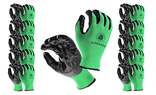 Eldorado Nitrile Coated Multipurpose Gloves With Grip. Color Green, 12 pairs, Large