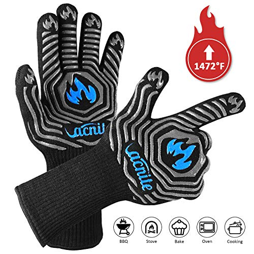 VACNITE BBQ Grill Gloves Extreme Heat Resistant 1472℉ 14 Inch Long Cuff Protective Grilling Gloves for Cooking Barbecue Insulated Kitchen Oven Mitts for Men Food Grade Silicone Pothold A Pair