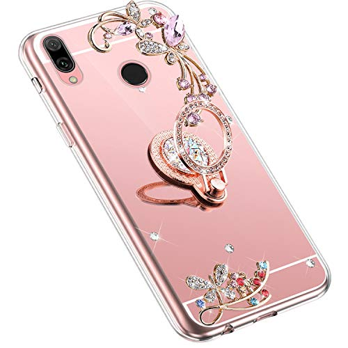 Uposao Kompatibel mit Huawei Y9 2019 Handyhülle Strass Diamant Bling Glitzer Spiegel Schutzhülle Mirror Case Schmetterling Blumen Silikon Hülle Tasche mit Ring Halter Ständer,Rose Gold