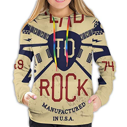 Women's Hoodies Tops,Ready To Rock Saying with Flying V Guitar and Pick...