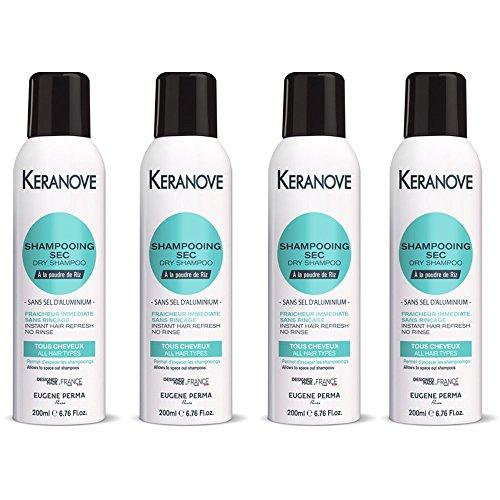 Kéranove - Shampooing Sec à la Poudre de Riz sans Aluminium - Fraîcheur Immédiate sans Rinçage 200 ml - Lot de 4
