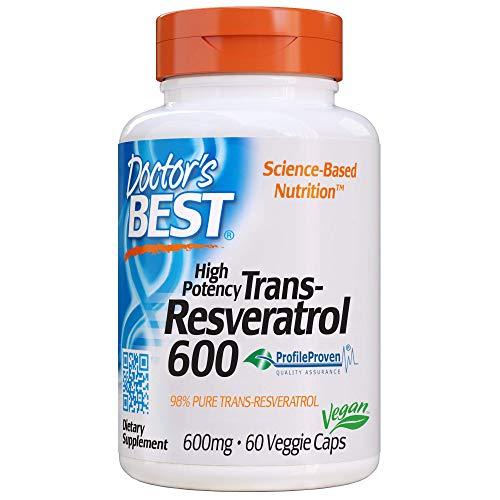 Doctor's Best, Trans-Resveratrol, 600 mg, 60 Cápsulas veganas, sin soja, sin gluten