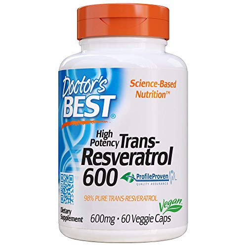 Doctor's Best Trans-Resveratrol 600, Non-GMO, Vegan, Gluten Free, Soy Free, 600 mg, 60 Veggie Caps (DRB-00416)