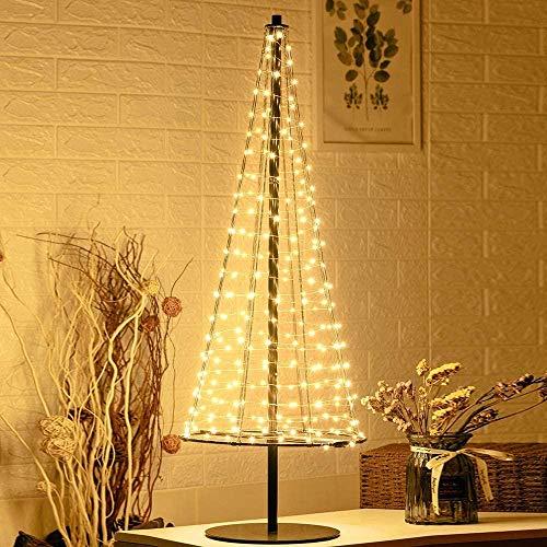 Powzz - Mini árbol de Navidad, luz nocturna para el hogar, decoración de fiestas, bodas, USB o pilas de 10 pulgadas, 40 ledes, color negro y negro