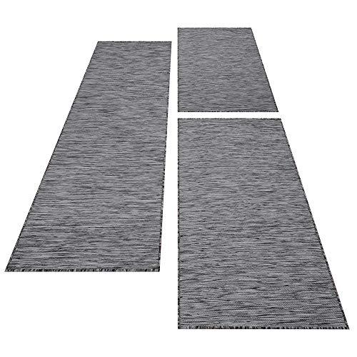 Bettumrandung Einfarbig Läufer Teppich Sisal Optik Flachgewebe Uni Läuferset, Farbe:Grau, Maße:2 x 80 x 150 cm & 1 x 80 x 250 cm