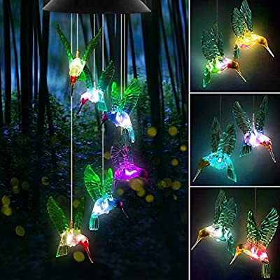 FlyCloud Wind Chimes, Solar Wind Chimes Outdoor, Color Changing Hummingbird Wind Chime Outdoor Solar Lights String Lights Mobile Hanging Windchime for Decor Home Garden Patio Yard Indoor Outdoor