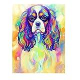artaslf DIY Full Square Rhinestone Diamond Painting Cavalier King Charles Spaniel Dog Pet 5D Embroidery Mosaic Art- 40x50cm unframed