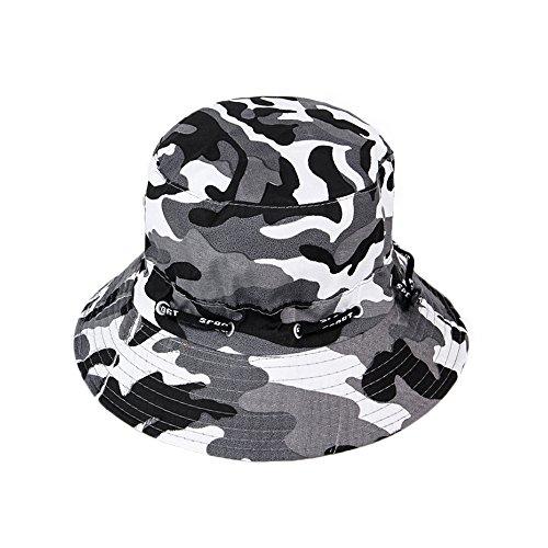 Fablcrew Chapeau de Pêcheur Camouflage en Cotton Anti-Soleil Respirant Anti UV Chapeau pour Homme Femme Loisir Voyage