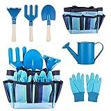 Ounona - Attrezzi da giardinaggio per bambini, con guanti da giardino, borsa per attrezzi da giardinaggio per bambini, colore blu