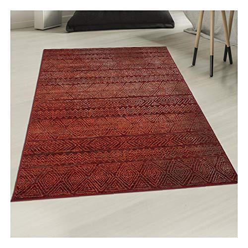 Tapis Style Berbère 80x150 cm Rectangulaire AF CHILA Rouge Chambre adapté au Chauffage par Le Sol