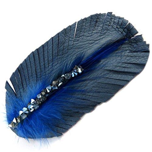 Les Trésors De Lily [P6284] - Barrette créateur cuir 'Sissi' bleu - 95x45 mm