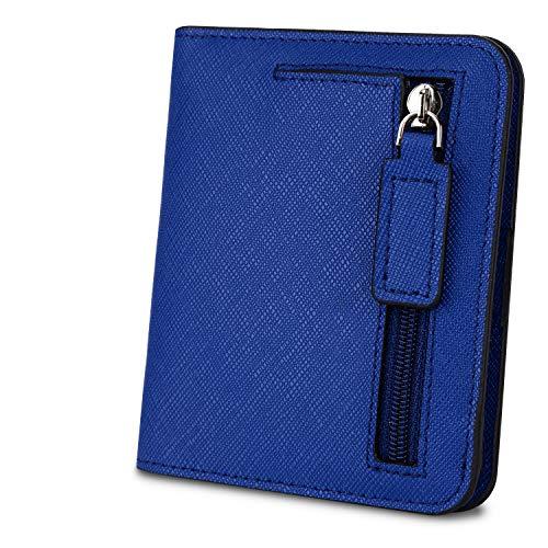 YALUXE Portafiglio Uomo o Donna in Vera Pelle Piccolo e Compatto Blocco RFID porta carte credito con finestra Nuovo stile Blu scuro RFID