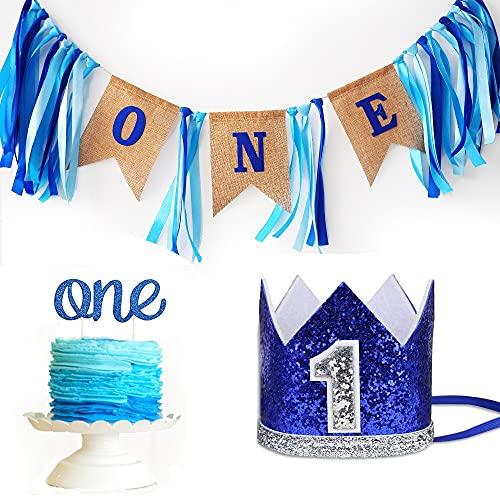 Homeluck Juego de decoraciones para bebé de 1er cumpleaños para niño feliz primer cumpleaños, suministros para fiesta de arpillera, trona, corona, decoración para tartas