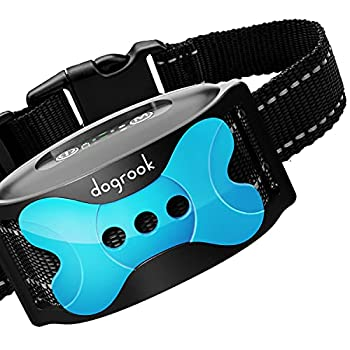 DogRook Rechargeable Dog Bark Collar - Humane No Shock Barking Collar - w/2 Vibration & Beep - S M L Dogs Breeds Training - No Remote - 11-110 lbs