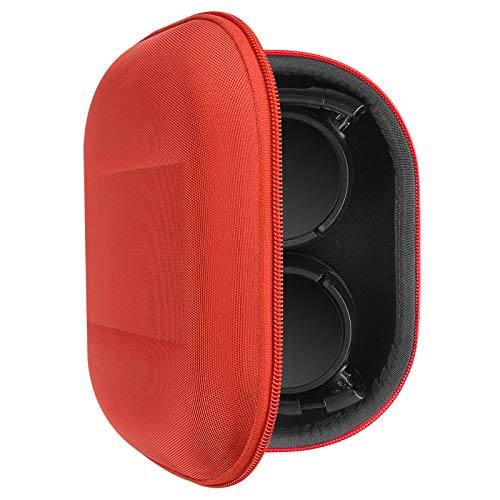 Geekria UltraShell Headphones Case Compatible with Sony MDR-ZX300, MDR-ZX310, MDR-XB200, MDR-ZX100, MDR-ZX110 Case, Replacement Hard Shell Travel Carrying Bag with Cable Storage (Red)
