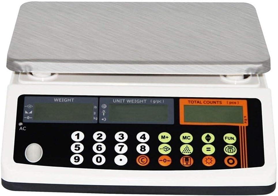 RTYUI Balanzas De Plataforma Electrónica 66Lb / 0.002Lb Balanza De Conteo Industrial Balanza Digital De Alta Precisión LCD Digital AC 110-240V DC (Color: Blanco, Tamaño: 33Ib / 0.001Ib)