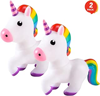 ArtCreativity Squeaking Unicorn Bath Tub Toys, Set of 2, 6 Inch Water Floating Squeaky Bathtub Toys for Kids, Toddlers, Safe Rubber, Gift for Boys and Girls, Cute Party Decoration Idea