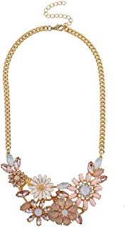 Lux Accessories Goldtone Pastel Pink Multicolor Floral Flower Statement Necklace