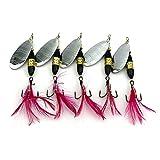 LENPABY - Juego de 5 cucharas de pesca/trucha spinner, 8,7 cm, cebo giratorio 18G
