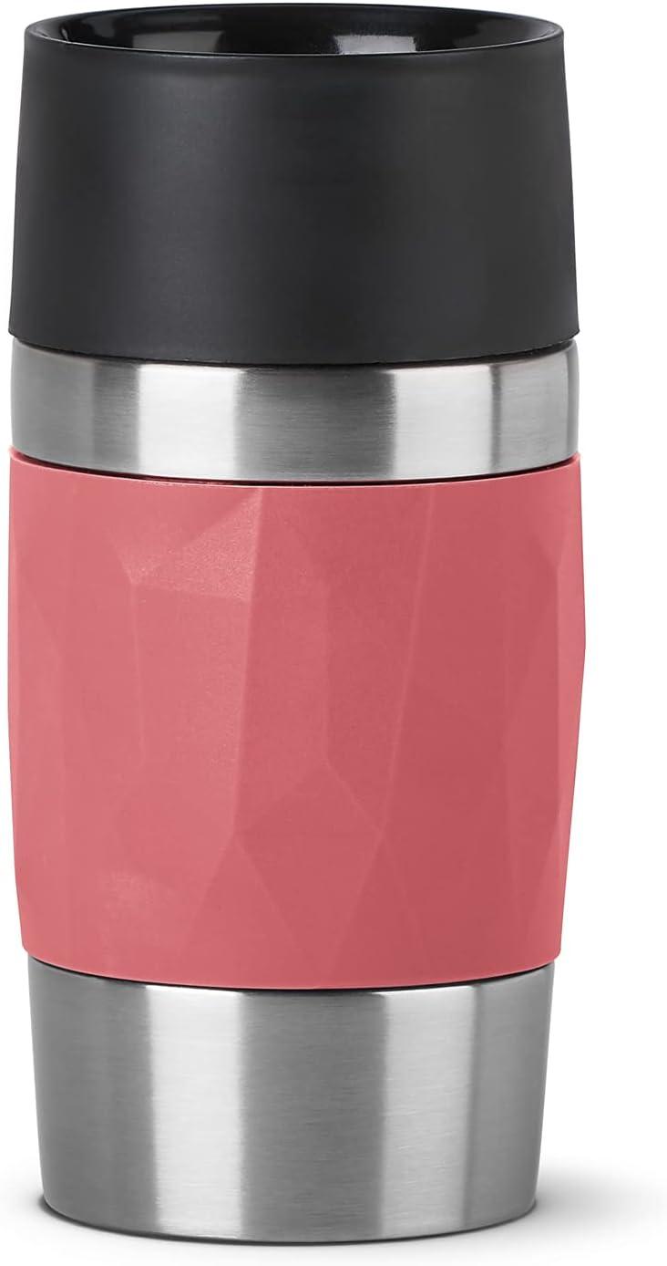 Emsa N21604 Travel Mug Compact - Termo de acero inoxidable (0,3 l, 4 h caliente, 8 h frío, sin BPA, 100% hermético, a prueba de fugas, apto para lavavajillas, apertura de 360°, color rojo coral