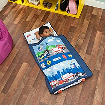 EVERYDAY KIDS Toddler Nap Mat with Removable Pillow -Fire Police Rescue- Carry Handle with Fastening Straps Closure Rollup Design Soft Microfiber for Preschool Daycare Sleeping Bag -Ages 2-6 years