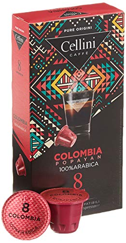 Cellini Espresso Colombia Popayan Kaffeekapseln, Intensität 8, 10er Pack (10 x 10 Kapseln)