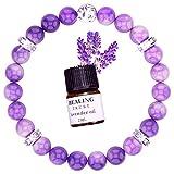 Pulsera de cristal de amatista para mujer, curación de amor, roca de lava, difusor de aromaterapia, con aceite esencial de lavanda, brazalete de meditación, chakra y yoga