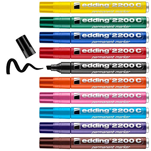 Edding 2200 C marcador permanente - multicolor - 10 rotuladores - punta biselada 1-5 mm - indeleble de secado rápido - resistente al agua y a los borrones - cartón,plástico,madera,metal,tela-universal