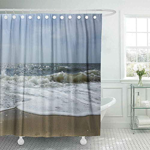 Musesh Baby Shower Curtain, Kids Shower Curtain 72X72 Inches Shower Curtains for Bathroom Country Shower Curtain Ocean Waves The Beach Sea Street Port Cod USA Cape Massachusetts