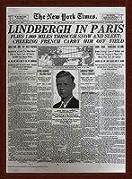 ポスター ピーター リンドバーグ VISIONAIRE(ヴィジョネアー)チャールズ・リンドバーグ NYタイムズ1927年5月22日 額装品 ウッドベーシックフレーム(ブラウン)