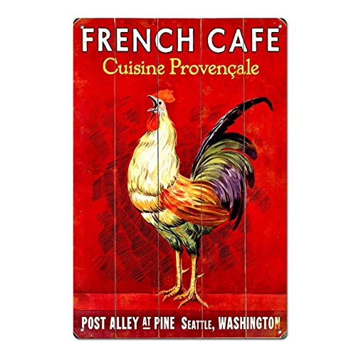 Vintage Rooster French Cafe Tin Sign Metal Sign Metal Decor Wall Sign Wall Poster Wall Decor Door Plaque TIN Sign 7.8X11.8 INCH