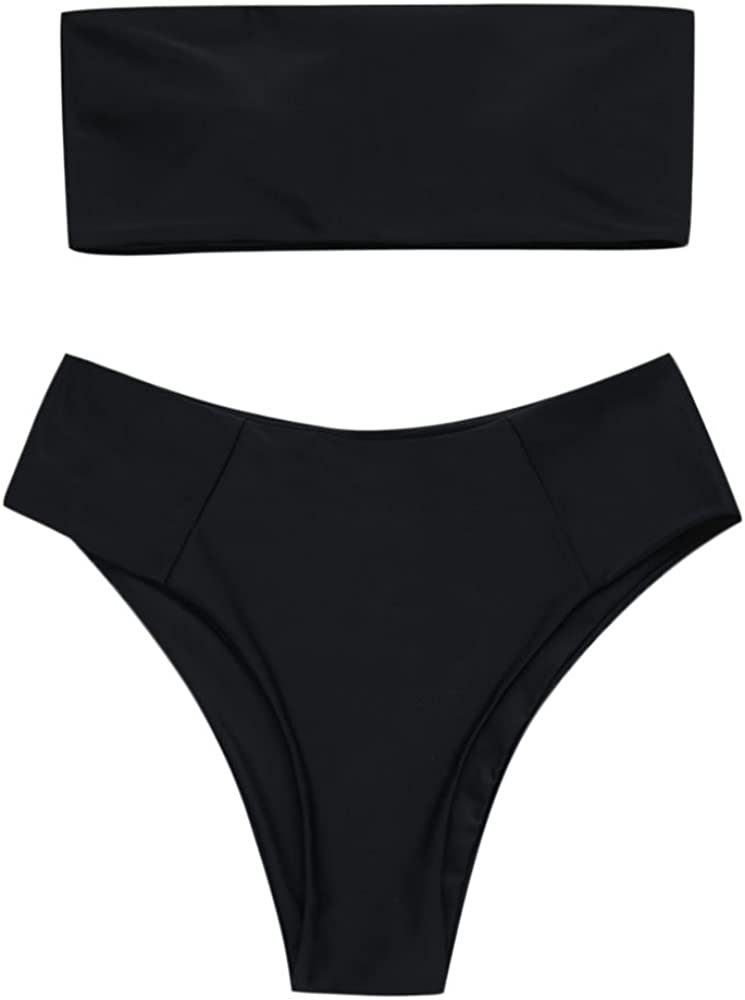ZAFUL Women's Strapless Solid Color 2 Pieces Bathing Suit Swimsuit
