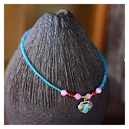 JPSOUP Natural Blue Spinel Diamond Cut Beads Anklet for Women 2mm Hecho a Mano Cloisonné Esmalte Paz Lock Ajustable Encanto Anklet Pulsera Playa Pie Tobillo Joyería Regalo