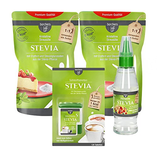 borchers bff Stevia Probierpaket: 2x Kristall Streusüße 300g, 1x Flüssigtafelsüße 125ml, 1x Tabletten 120Stück