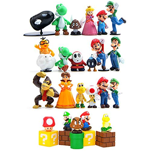 HYSTYLE 28 Piece Super Mario Bros Super Mary Princess, Turtle, Mushroom, Orangutan, Super Mario Action Figures Cake Toppers, 1.8'-2.6'