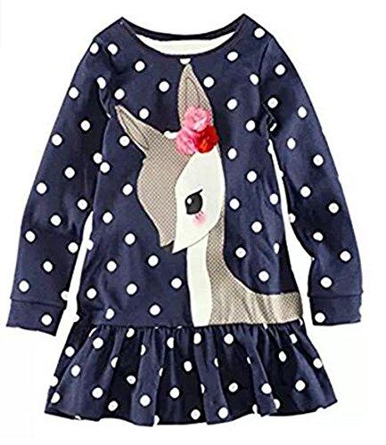 Cute Toddler Baby Girl Cotton Long Sleeve Blue Dot Deer Cartoon Animal Basic Shirt Dress,18M/80cm,18#dotdeer