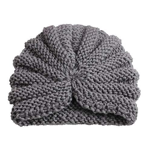 Casue Unisex baby kinderen gebreide muts winter warme muts beanie turban hoofd wrap hoofdbanden voor baby meisjes jongens, grijs