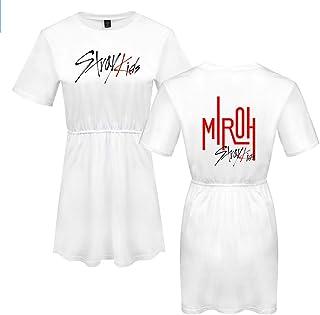 FEIRAN Stray Kids Mujeres Imprimir Vestido Manga Corta niña O-Cuello Camiseta Vestidos White A XXL