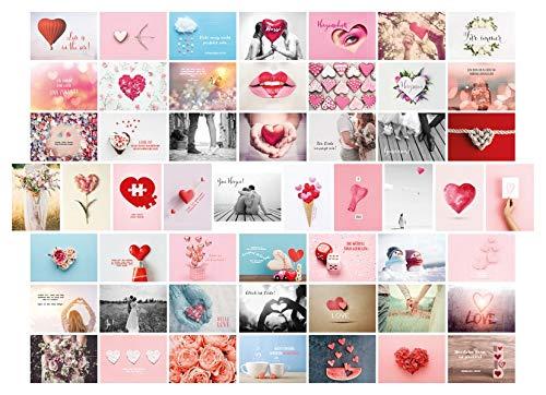 Postkarten Hochzeit 52 Wochen, Set mit 52 Liebespostkarten DIN A6 für Hochzeitsspiel. 1 Jahr jede Woche eine Karte. Kreatives Hochzeitsgeschenk mit ... für Brautpaar. Gästebuch Alternative