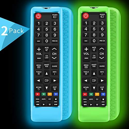 2Pack Silicone Protective Case Sleeve for Samsung LCD LED HDTV 3D Smart TV RemoteSamsung BN5901199F BN5901301A Remote Holder SkinShockproof Samsung Remote Bumper Back CoversGlowblue Glowgreen