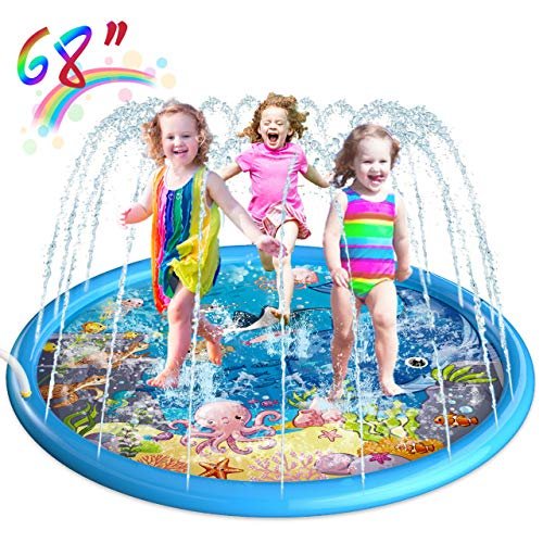 Homga 68' Sprinkler for Kids Outdoor Sprinkler Pad Mat for Infants Toddlers-Inflatable Baby Swimming Pool- Water Toys for Wading Learning, Backyard Play Mat for 1-12 Years Old Girls Boys