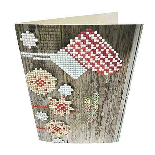 Armfer-household supply 8pcs Greeting Cards Assortment Christmas Diamond Painting Snowman Santa Full Drill Handmade Anniversary Cards Postcards Best Gifts for Merry Xmas New Year Holiday