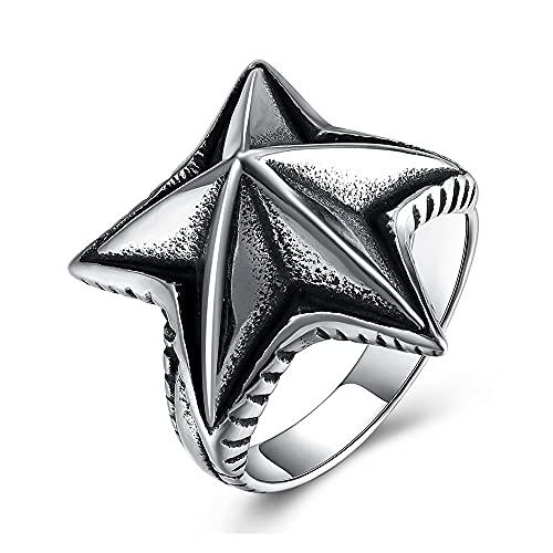 Unisex Acero Inoxidable Mar Star Starfish Forma Hombres Anillo Vintage Punk Rock Anillos Delicada Antiguo Estilo Gótico Estilo Casual Joyería De Moda 705 (Ring Size : 10)