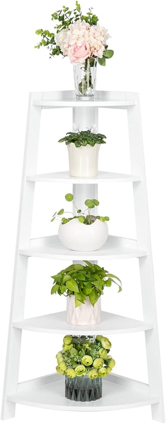 5 Tier Corner Shelf Stand Wood - Display Ranking TOP15 White Department store Furniture Storage