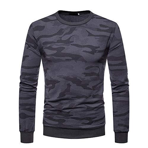 ZZBO Herren Classic Sweatshirt Rundhals Langarm Slim Fit Training Pullover Warm Winter Pulli Camouflage Blouse Tops Adult Sweat für Herbst und Winter Sport Freizeit M-XXL